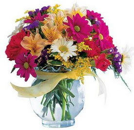 Ulus Ankara hediye sevgilime hediye çiçek  cam yada mika içerisinde karisik mevsim çiçekleri