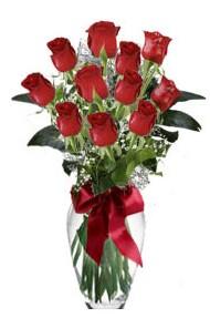 11 adet kirmizi gül vazo mika vazo içinde  Ulus Ankara çiçek yolla , çiçek gönder , çiçekçi