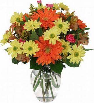 Ulus Ankara çiçek gönderme sitemiz güvenlidir  vazo içerisinde karışık mevsim çiçekleri