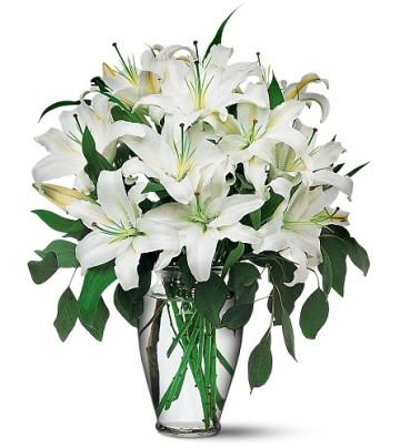 Ulus Ankara hediye sevgilime hediye çiçek  4 dal kazablanka ile görsel vazo tanzimi