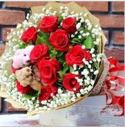 7 adet kırmızı gül 2 adet 10 cm ayı buketi  Ulus Ankara çiçek mağazası , çiçekçi adresleri