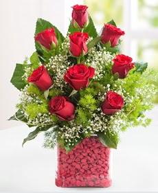 Cam içerisinde 9 adet kırmızı gül  Ulus Ankara hediye sevgilime hediye çiçek