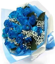 15 adet mavi gülden şahane eşsiz buket  Ulus Ankara online çiçekçi , çiçek siparişi