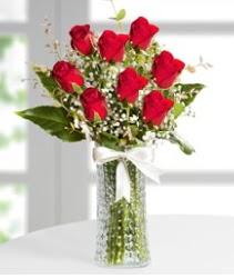 7 Adet vazoda kırmızı gül sevgiliye özel  Ulus Ankara anneler günü çiçek yolla