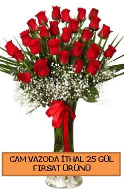Cam vazoda ithal 1. kalite 25 gül  Ulus Ankara hediye sevgilime hediye çiçek