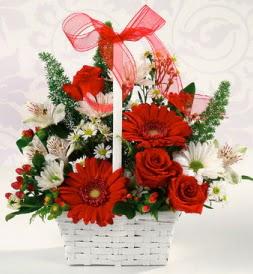 Karışık rengarenk mevsim çiçek sepeti  Ulus Ankara çiçek servisi , çiçekçi adresleri