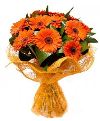 11 adet turuncu gerbera buketi  Ulus Ankara çiçek online çiçek siparişi