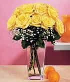 Ulus Ankara hediye sevgilime hediye çiçek  9 adet sari güllerden cam yada mika vazo