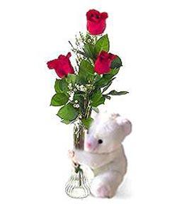 oyuncak ve 3 adet gül  Ulus Ankara anneler günü çiçek yolla