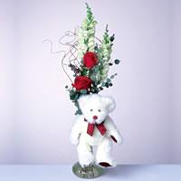 2 adet gül ve panda özel  Ulus Ankara 14 şubat sevgililer günü çiçek