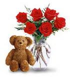 vazoda 6 adet gül ve oyuncak  Ulus Ankara çiçekçi mağazası