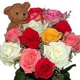 renkli güller ve ayicik   Ulus Ankara çiçek gönderme sitemiz güvenlidir