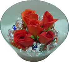 Ulus Ankara çiçek yolla , çiçek gönder , çiçekçi   5 adet gül ve cam tanzimde çiçekler