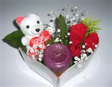 Ulus Ankara güvenli kaliteli hızlı çiçek  kalp içerisinde 3 gül seni seviyorum yazili pelus