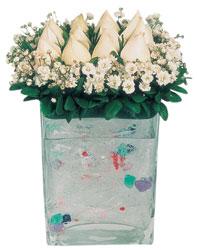 Ulus Ankara 14 şubat sevgililer günü çiçek  7 adet beyaz gül cam yada mika vazo tanzim
