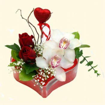 Ulus Ankara çiçek gönderme sitemiz güvenlidir  1 kandil orkide 5 adet kirmizi gül mika kalp