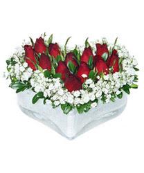 Ulus Ankara çiçek servisi , çiçekçi adresleri  mika kalp içerisinde 9 adet kirmizi gül
