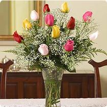 Ulus Ankara çiçek servisi , çiçekçi adresleri  renkli gül 11 adet çiçekçi den cam yada mika vazo tanzimi