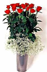 Ulus Ankara güvenli kaliteli hızlı çiçek  9 adet kirmizi gül cam yada mika vazoda