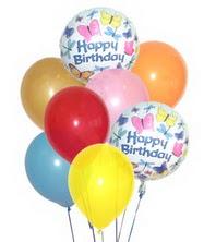 17 adet karisik renkte uçan balonlar