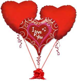 Ulus Ankara kaliteli taze ve ucuz çiçekler  3 adet büyük boy kalp uçan balon