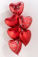 6 adet kirmizi folyo kalp uçan balon buketi