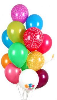 30 adet uçan balon buketi demeti renkli