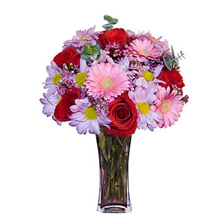 Görsel hediye karisik cam mevsim demeti  Ulus Ankara 14 şubat sevgililer günü çiçek
