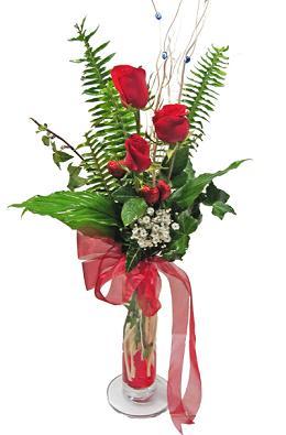 Çiçek gönderin cam vazoda 3 gül çiçekleri  Ulus Ankara anneler günü çiçek yolla
