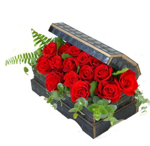 Sandik içerisinde 12 adet kirmizi gül  Ulus Ankara çiçek online çiçek siparişi