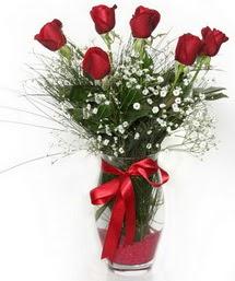 7 adet gülden cam içerisinde güller  Ulus Ankara çiçek yolla , çiçek gönder , çiçekçi