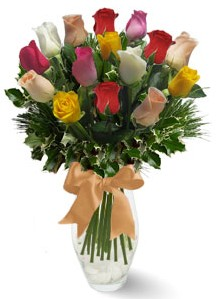 15 adet vazoda renkli gül  Ulus Ankara hediye sevgilime hediye çiçek