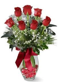 Ulus Ankara çiçek servisi , çiçekçi adresleri  7 adet kirmizi gül cam vazo yada mika vazoda