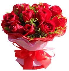 9 adet kirmizi güllerden kipkirmizi buket  Ulus Ankara çiçek online çiçek siparişi
