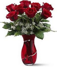 Vazo içinde 8 adet kirmizilar içinde güller  Ulus Ankara çiçek servisi , çiçekçi adresleri