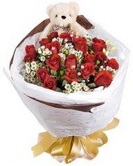 15 cm boyutlarinda ayicik ve 12 adet gül  Ulus Ankara anneler günü çiçek yolla