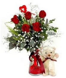 Ulus Ankara ucuz çiçek gönder  5 adet kirmizi gül ve pelus ayicik kalp çubuk
