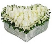 Ulus Ankara çiçek satışı  9 adet beyaz gül mika kalp içerisindedir
