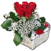 Ulus Ankara çiçek , çiçekçi , çiçekçilik  kalp mika içerisinde 7 adet kirmizi gül