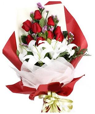 Ulus Ankara çiçek online çiçek siparişi  1 dal kazablankaa 9 adet kırmızı gül buketi