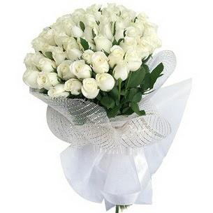 Ulus Ankara çiçek satışı  51 adet beyaz gülden buket tanzimi
