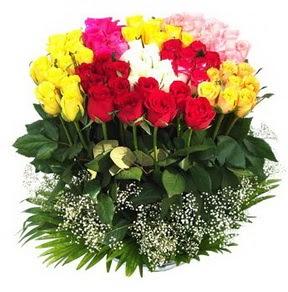 Ulus Ankara çiçekçi telefonları  51 adet renkli güllerden aranjman tanzimi