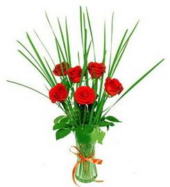 6 adet kırmızı güllerden vazo çiçeği
