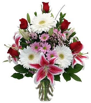 Ulus Ankara çiçekçi telefonları  1 dal kazablanka 5 gül ve kırçiçeği vazosu