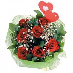 Ulus Ankara hediye sevgilime hediye çiçek  7 adet kırmızı gül ve 2 adet kalp çubuk