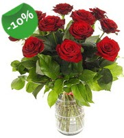 11 adet vazo içerisinde kırmızı gül  Ulus Ankara kaliteli taze ve ucuz çiçekler