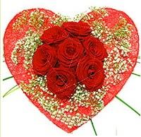 Mika kalp içerisinde 7 adet kırmızı gül  Ulus Ankara 14 şubat sevgililer günü çiçek