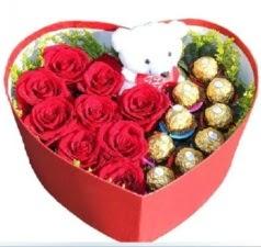 Kalp içerisinde 8 gül 9 çikolata ve ayıcık  Ulus Ankara çiçek servisi , çiçekçi adresleri