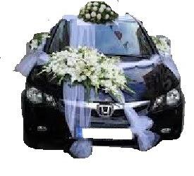 Çift çiçekli sünnet düğün ve gelin arabası süsleme
