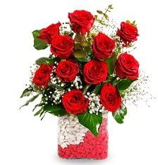 11 adet kırmızı gül vazosu  Ulus Ankara güvenli kaliteli hızlı çiçek